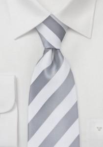Businesskrawatte weiß silber Streifenmuster