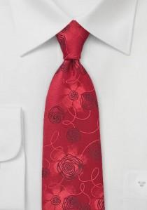 Krawatte Rosen-Dessin mittelrot