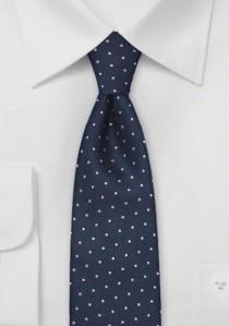 Schmale Krawatte marineblau rosa Pünktchen