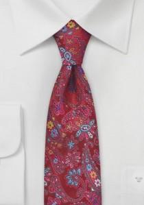 Schmale Krawatte Blumen-Muster rot