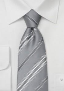 Silberne Krawatte weiß gestreift