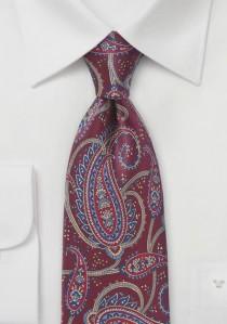 Krawatte ausgefallenes Paisley-Motiv bordeauxrot