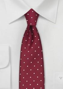 Schmale Krawatte Pünktchen weiß rot