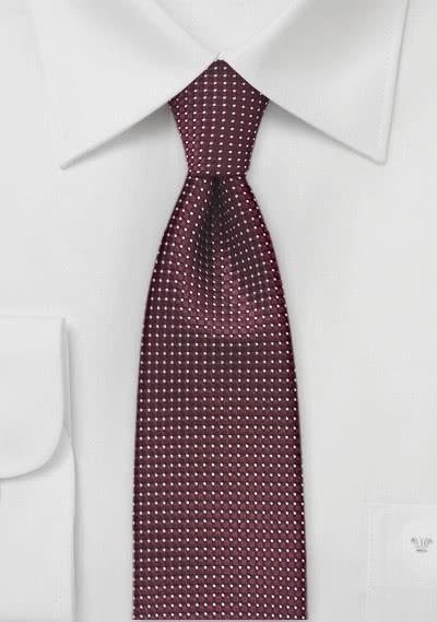 Schmale Krawatte strukturiert bordeaux fast metallartig