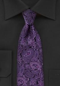 Optimale Businesskrawatte Paisleymotiv lilafarben