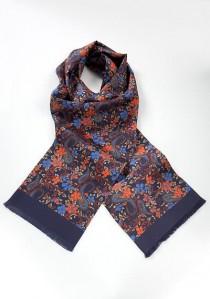 Krawattenschal nachtblau floral