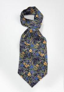 Schal-Ascot marineblau Paisleys Blumenmotive