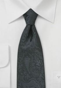 Krawatte nachtschwarz Rankenmuster