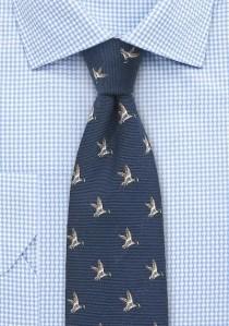 Jagd-Krawatte Wolle nachtblau Rebhuhn