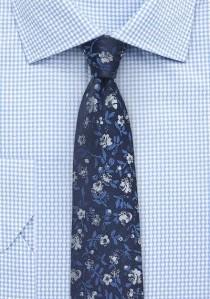 Kravatte schmal geformt navy Blumen