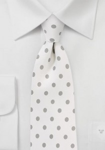 Krawatte grob getupft schneeweiß silbergrau