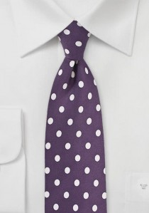 Krawatte grob tupfengemustert violett perlweiß