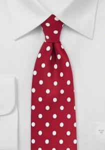 Krawatte grob tupfengemustert kirschrot perlweiß