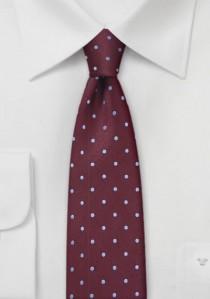 Schmale Krawatte weinrot himmelblau punktgemustert