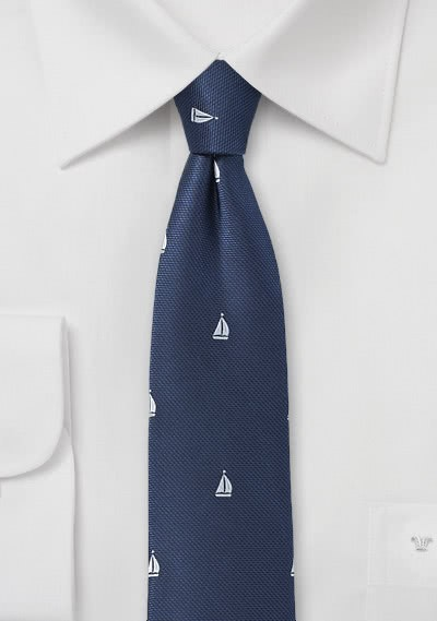Krawatte Segelschiffe dunkelblau