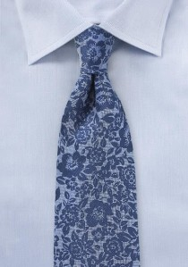 Kravatte Blumenmuster ultramarinblau Seide /