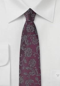 Blümchenmuster-Krawatte bordeauxrot