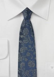 Blümchenmotiv-Kravatte marineblau