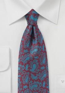 Krawatte bordeaux blaugrün Paisley-Muster