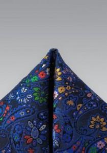 Kavaliertuch Seide Paisleymotiv blau