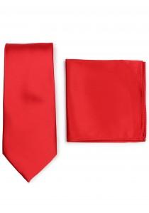 Krawatte und Ziertuch im Set - rot