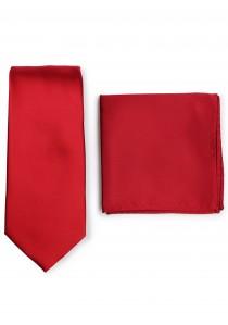 Krawatte und Ziertuch im Set - dunkelrot