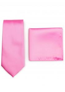 Businesskrawatte und Einstecktuch im Set - pink