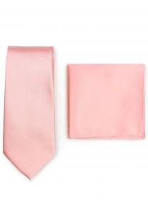 Krawatte und Ziertuch im Set - rosa