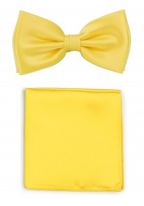 Herren-Schleife und Ziertuch in gelb