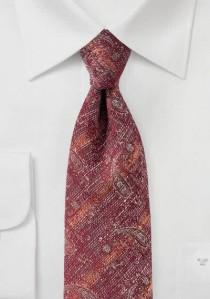 Herrenkrawatte marmoriert Paisley-Muster kirschrot