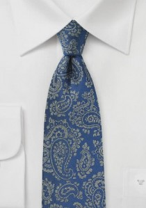 Krawatte Paisley-Motiv königsblau