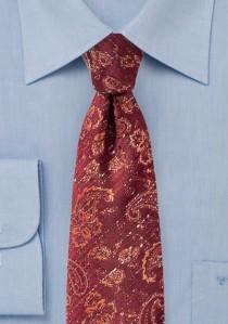 Krawatte Paisleymotiv kirschrot lachsfarben