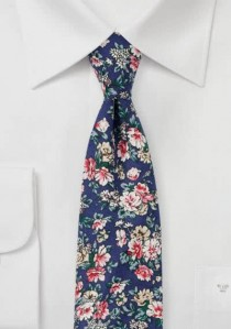 Herrenkrawatte Blumenmuster Baumwolle dunkelblau