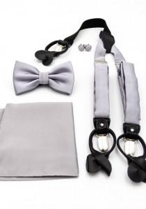 Set: Hosenträger, Herrenschleife, Ziertuch und