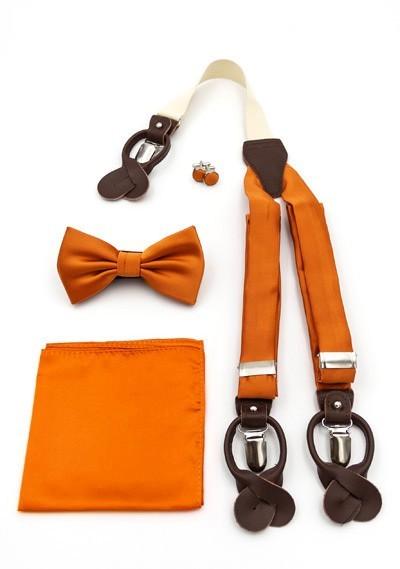 Set: Hosenträger, Herrenfliege, Kavaliertuch und Manschetten-Knöpfe orange