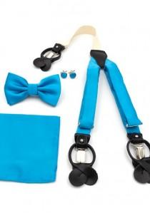 Set: Hosenträger, Herrenschleife, Einstecktuch und