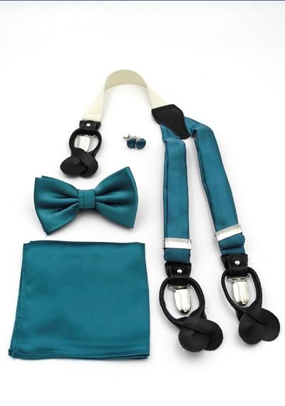 Set: Hosenträger, Herren-Schleife, Ziertuch und Manschettenknöpfe blaugrün